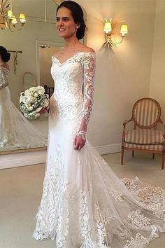 Long Sleeves Wedding Dress #LongSleevesWeddingDress, V-neck Wedding Dress #VneckWeddingDress, V Neck Wedding Dress #VNeckWeddingDress, Wedding Dresses 2018 #WeddingDresses2018, Lace Wedding Dress #LaceWeddingDress