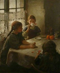 The Tea Party, 1912 - Harold Harvey (British, 1874-1921)
