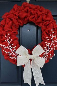 Red burlap wreath merry christmas wreath rustic wreath red and white wreath holiday wreath simple red wreath White Wreath, Diy Wreath, Burlap Wreaths, Snowman Wreath, Yarn Wreaths, Tulle Wreath, Floral Wreaths, Burlap Ribbon, Red Ribbon
