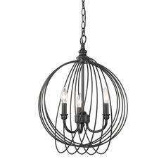 Golden Lighting's Quinn 3 Light Pendant #7035-3P BLK Globe Chandelier, Chandelier Lighting, Sloped Ceiling, Ceiling Lights, 3 Light Pendant, Globe Lights, Metal Bands, Candelabra, Bulb