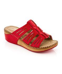 Red Cutout Strap Sandal