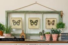 Thow to Turn Old Window Frames into Botanical butterfly Wall Art by francine