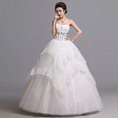 Ball Gown Sweetheart Floor-length Tulle Wedding Dress