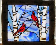 Cardinals and Birch Trees - Stained Glass Window - Hanging Stained Glass, Stained Glass Quilt, Faux Stained Glass, Stained Glass Panels, Stained Glass Projects, Stained Glass Cardinal, Stained Glass Christmas, Stained Glass Flowers, Stained Glass Patterns Free