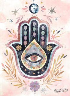 Art Hippie, Hamsa Art, Hippie Painting, Hamsa Painting, Posca Art, Psychedelic Art, Art Inspo, Watercolor Art, Watercolor Mandala