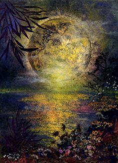 Full Moon Pressed Flower Art - Shelley Xie