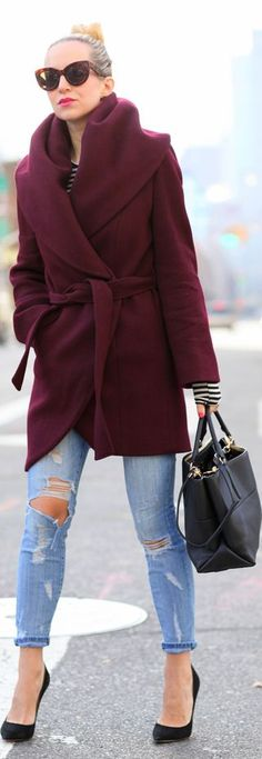 love this burgundy shawl collar coat!