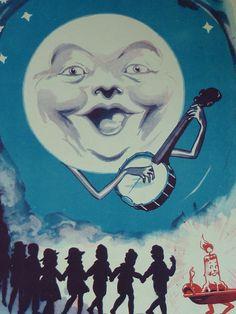 Original 1935 Moon Matted Print  Vintage  Man  by PrimrosePrints, £35.00 Vintage - Man - Banjo - Dreams - Stars - Bluegrass - Moonlight - Moonlit - Blue - Antique - Night Sky