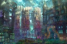 cityscapes colorful buildings artwork anime munashichi - Wallpaper (#54882) / Wallbase.cc