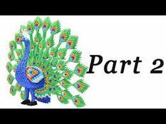 Origami Big Peacock / Pavone grande -Tutorial - Part 2 - HD 3d Paper Crafts, Diy Arts And Crafts, Diy Paper, 3d Origami, Paper Folding, Beautiful Birds, Quilling, Peacock, Youtube