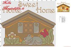 Cross stitch pattern Thun house with kitten sleeping