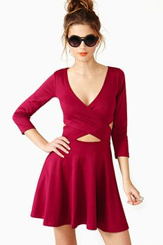 Crossed Out Skater Dress in Wine