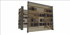 Modular Library 3D Model-   Modular Library in steel and wood - #3D_model #Cabinets