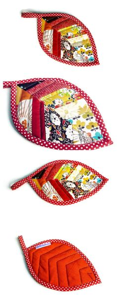 Leaf potholder quilted patchwork by WheretheOrchidsGrow on Etsy