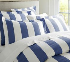 PB Classic Stripe 400-Thread-Count Duvet Cover & Sham - Lapis Blue | Pottery Barn