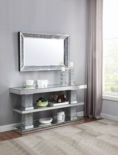 Decor Home Living Room, Living Room Mirrors, Living Room Sets, Home And Living, Home Decor, Modern Living, Acme Furniture, Furniture Design, Counter Height Dining Sets