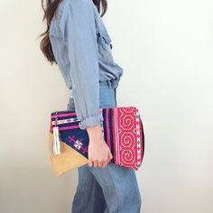 Hot Tamale Crescent Clutch // GAIA clutches are made from vintage + repurposed fabric by resettled refugee women living in Dallas //   www.gaiaforwomen.com