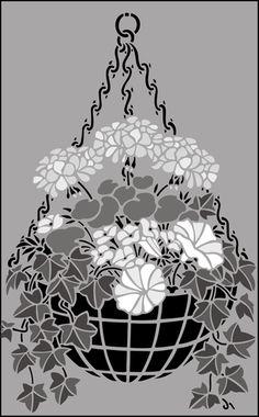 Garden Room Hanging Basket stencils, stensils and stencles