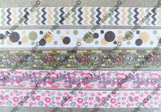 Fabulous set of Camo colored Prints all Glittered up  Grosgrain Ribbon  Choose from: Camo colors Chevron  Camo colors Dots  House of Camo