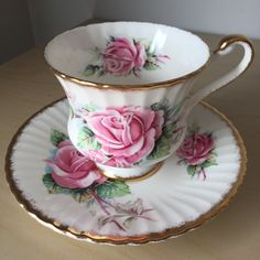 Paragon Queen Elizabeth Pink Rose Vintage Teacup and Saucer, English Floral Tea…