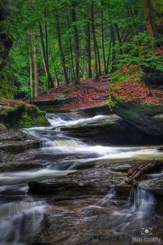 """Visiting Old Man's Cave should definitely be on your """"Ohio To-Do List!"""" """"Evening falls in April at Old Man's Cave in Hocking Hills Ohio"""" Beautiful Waterfalls, Beautiful Landscapes, Dream Vacations, Vacation Spots, Places To Travel, Places To See, Beautiful World, Beautiful Places, Seen"""