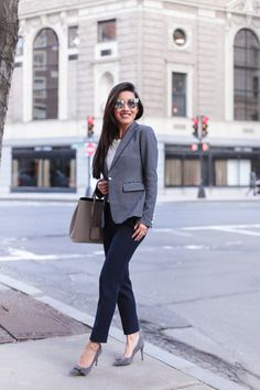 what to wear to work in the winter // striped blazer + navy ankle pants + gray bag (topped with a gray wool wrap coat)