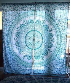 Mandala tapestry curtains, boho curtains, tapestry drapes, mandala wall hanging…i wonder if you can diy ? Buy a tapestry cut and sew or just buy lol Mandala Curtains, Tapestry Curtains, Bohemian Curtains, No Sew Curtains, Boho Tapestry, Drop Cloth Curtains, Mandala Tapestry, Colorful Curtains, Tapestries