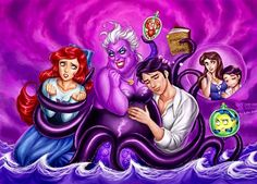 [Edit] Now, just a bit lighter version [/Edit] Something funny and my bigger tribute for Little Mermaid. I Ursula!] On the picture: Ariel, Ursula, Seb. Little Mermaid vs Ursula Disney Images, Disney Fan Art, Disney Pictures, Disney Love, Disney Stuff, Punk Disney, Mermaid Disney, Disney Little Mermaids, Ursula Disney