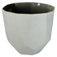 Large Grey Quartz Faceted Ceramic Bowl by HomArt - Seven Colonial
