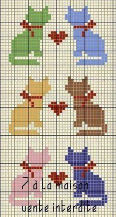 Cat Cross Stitches, Cross Stitching, Cross Stitch Embroidery, Knitting Charts, Knitting Stitches, Knitting Patterns, Cross Stitch Cards, Cross Stitch Animals, Cross Stitch Designs