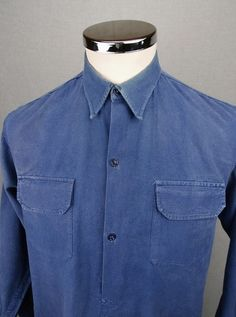 1930's Men's work coat- blue distressed Denim. Sz Med. | Of mice ...