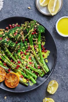 Roasted Broccolini topped with a vegan lemon tahini dressing. Curry Recipes, Raw Food Recipes, Veggie Recipes, Vegetarian Recipes, Healthy Recipes, Side Dish Recipes, Easy Dinner Recipes, Lemon Tahini Dressing, Food Recipes