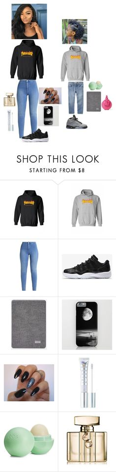 """""""Part 2 🤞🏾🤙🏾🌿"""" by papityyyyyy ❤ liked on Polyvore featuring WithChic, NIKE, Ted Baker, MILK MAKEUP, Eos, Gucci and Valentino"""