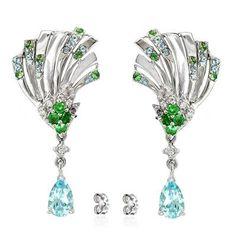 Women's Earrings with Sky Blue Topaz, Green Tsavorite, Premium Cubic Zirconia in Rhodium plated 925 Sterling Silver