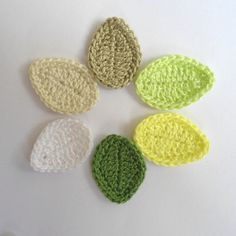 Crochet Applique Leaves 6 pcs Supplies For Clothing von Clewinhand