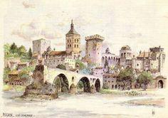 Vue générale d'Avignon. Aquarelle de Robert Lépine. 12 juin 1790 : Avignon devient française. Histoire de France. Patrimoine. Magazine