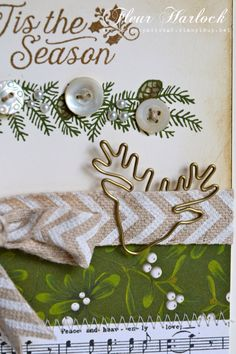 Idea from lilybeanpaperie.typepad.com  Stampin' Up! 'Oh, What Fun' stamp set, 'Festive Fireplace' stamp set, 'Home For Christmas' DSP, Venetian Crochet Trim, Natural Chevron Ribbon, Reindeer Paper Clips, vintage buttons from my own collection.