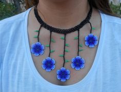 Glass Flower Petals Beaded Necklace with Matching Earrings