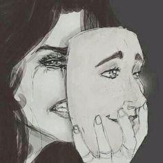 Hasil gambar untuk woman taking off mask of happiness drawing Illusion Kunst, Tattoo Painting, Art Visage, Anime Tumblr, Art Et Design, Sad Drawings, Deep Art, Sad Art, Gcse Art