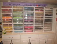 I used these Sterilite drawers. They have 3 drawers. The tops are easy to remove and then they are snapped on top of one another. A while after I had put mine together, Later Sterilite came out with drawers that had individual lids – I would have used those if they had been available.