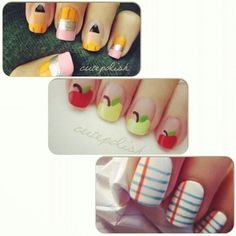 School nail art Ok, college ruled notebook paper-themed nails? Fun idea for teachers and moms alike. Or paint your kids' nails! School Nail Art, Back To School Nails, Get Nails, How To Do Nails, Hair And Nails, Fall Nails, Matte Nails, Nail Polish Designs, Cute Nail Designs