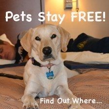 Pet travel just got more affordable!  Book your next stay at one of these pet friendly hotels through our site...and your pets stay for FREE.