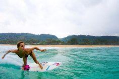 Alana Blanchard surfing.