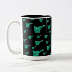 Shop Black & Green Kitty Pattern Two-Tone Coffee Mug created by thepawkinglot. Cat Dad, Creature Comforts, Cute Pattern, Pet Shop, Morning Coffee, Colorful Backgrounds, Color Pop, Create Your Own, Coffee Mugs