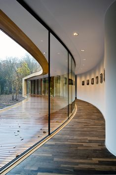 Villa on a Dune is a minimalist house located in The Netherlands, designed by Architecten CSK The residence wraps around serene woodland environment surrounded by an abundance of trees and leaves Wood panels form the building's exterior facade whil Amazing Architecture, Interior Architecture, Interior And Exterior, Residential Architecture, Curved Walls, Curved Lines, Building Exterior, Stucco Exterior, Minimalist Home