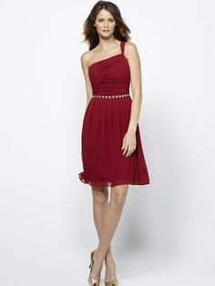 Flowy Chiffon One Shoulder Knee Length Burgundy Bridesmaid Dress