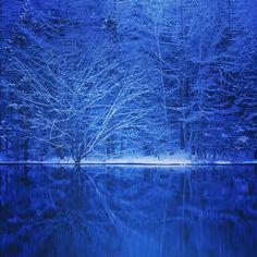 たくさんの色を持つ御射鹿池ですが、一番見たいのはやっぱりこの神秘的で美しい青の世界。 非現実的で美しい青に包まれる時が、御射鹿池を訪れた人が最も感動する瞬間です。