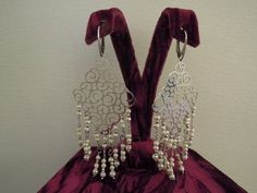 silver earrings with small pearls