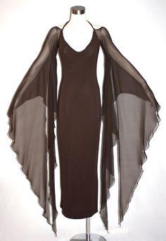 Vintage HALSTON Gown Brown Backless Halter Angel Sleeve Maxi Dress de StatedStyle en Etsy https://www.etsy.com/es/listing/164040208/vintage-halston-gown-brown-backless
