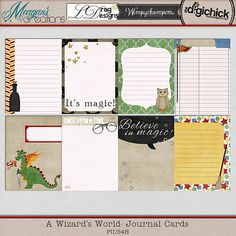 A Wizard's World Journal Cards by Meagan's Creations, LDrag Designs, and Wimpychompers Creations Scrapbook Journal, Journal Cards, Journal Ideas, Harry Potter Journal, Kawaii Crafts, Vacation Scrapbook, Project Life Cards, Planner Decorating, Smash Book